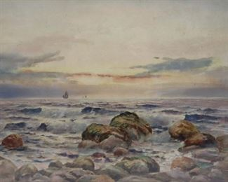G Barker Signed Watercolor Ships Art Sea