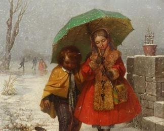 G Paslisade Signed Oil On Canvas Children Under