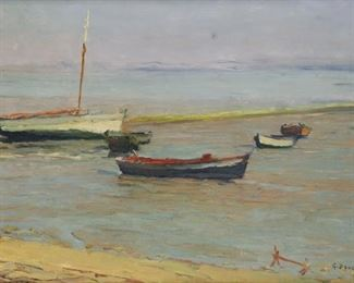 Gaston Boucart Signed Oil On Board Boats