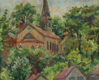Howland Signed Oil On Canvas Church In Landscape