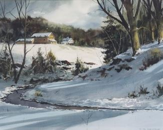 HRPetrie Signed Watercolor Snow Scene