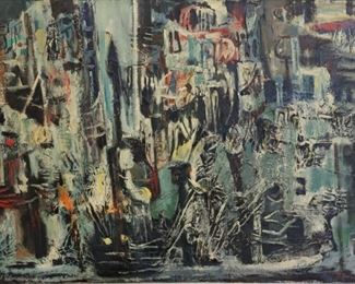 Illegibly Signed And Dated abstract Oil On
