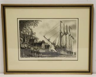 Illegibly Signed And Dated Print Of A Schooner