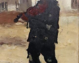 ILLEGIBLY SIGNED OIL ON BOARD BOY PLAYING VIOLIN