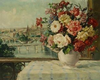 Illegibly Signed Oil On Canvas Floral Still Life