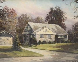 ILLEGIBLY Signed Oil On Canvas House And Garage