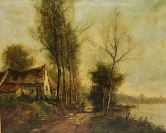 ILLEGIBLY Signed oil On Canvas House At Lake