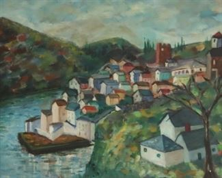 ILLEGIBLY Signed Oil On Canvas Houses On River