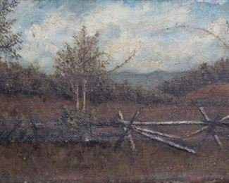 ILLEGIBLY Signed Oil On Canvas Landscape