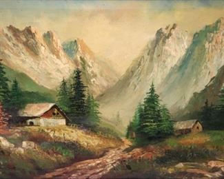 ILLEGIBLY Signed Oil On Canvas Mountain Scene