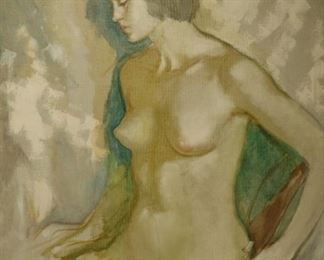 ILLEGIBLY Signed Oil On Canvas Nude Girl