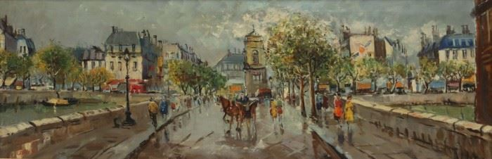 ILLEGIBLY Signed Oil On Canvas Street Scene