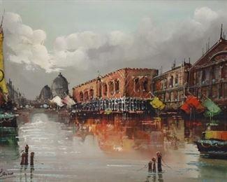 ILLEGIBLY Signed Oil On Canvas Venetian Scene