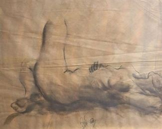 Illegibly Signed Pencil Of Reclining Nude