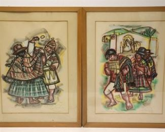Illegibly Signed Watercolors By Peruvian Artist