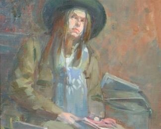 Irwin Greenberg Signed Oil On CanvasGirl In Hat