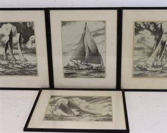 John Moll Set Of Pencil Signed Yachting