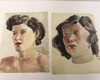 Joseph Newman Signed Watercolor Portraits