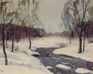 Kilvert Signed Watercolor River In Snow