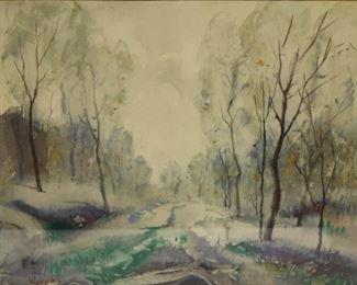 Kilvert Signed Watercolor Snow Landscape
