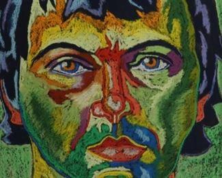 KUFA Initialled Pastel Portrait
