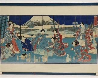 KUNISADA Watercolor And Ink Triptych