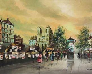 Lavath Signed Oil On Canvas Street Scene