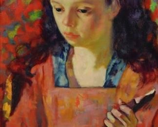 Luigi Corbellini Signed oil On Canvas Young Girl