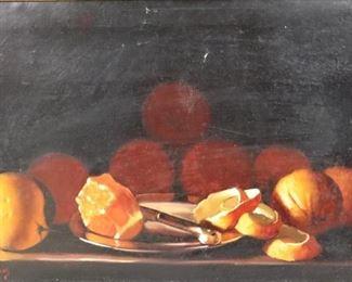 M W Huggins Signed Oil On Canvas Still Life