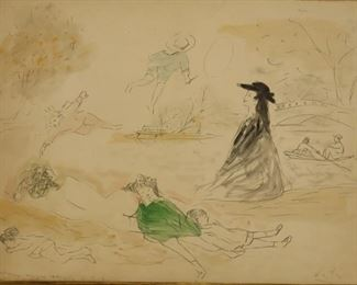Marcel Vertes Signed Drawing With Watercolor
