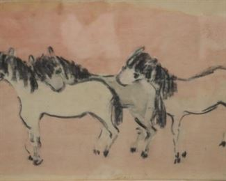 Moura Chabor Signed Watercolor Horses
