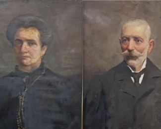 PAIR UNSIGNED OIL ON CANVAS PORTRAITS