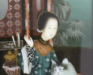 Reverse Painting On Glass Woman With Cat
