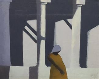 Rodney Signed oil On Canvas Barclays Columns