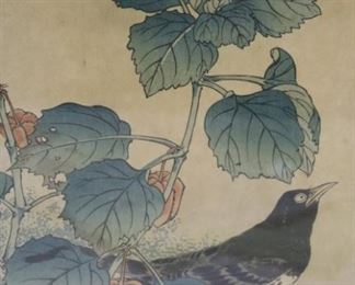 Signed Asian Print Of A Bird