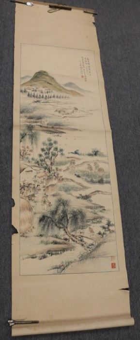 Signed Asian Scroll Painting