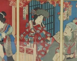 Signed Japanese Triptych Framed Print