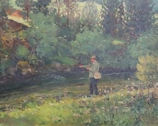 SIGNED NEOGRADY OIL ON CANVAS FLY FISHING