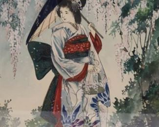 T Aoki Signed Watercolor Japanese Girl