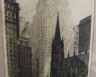 TK Hoerness Signed NYC Etching