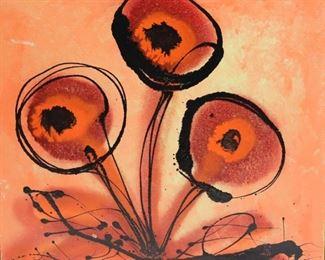 Unsigned Oil On Board Flower
