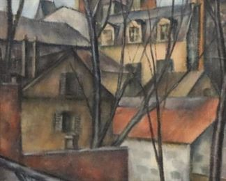 UNSIGNED Oil On Canvas Houses