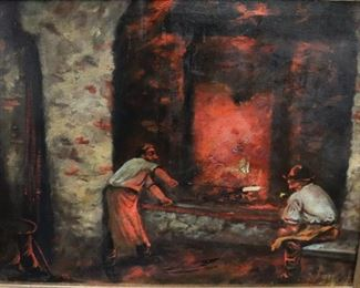 UNSIGNED OIL ON CANVAS MEN WORKING WITH FIRE