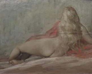 UNSIGNED OIL ON CANVAS NUDE FEMALE
