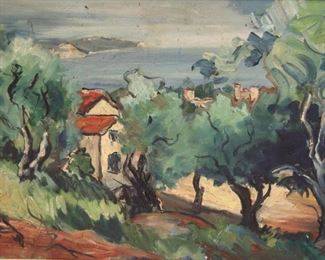 UNSIGNED Oil On Canvas Riviera landscape