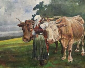 UNSIGNED OIL ON CANVAS YOUNG LADY WITH COWS