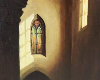 Van Wyk Signed Oil On Canvas Church Interior