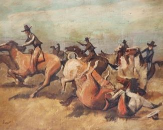 VERNET Signed Oil On Board Cowboys