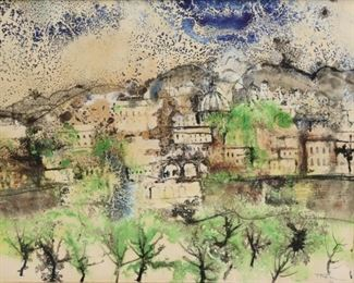 William Thon Signed Watercolor Houses In