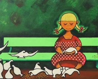 Xavier Cugat Signed Oil On Canvas Girl On